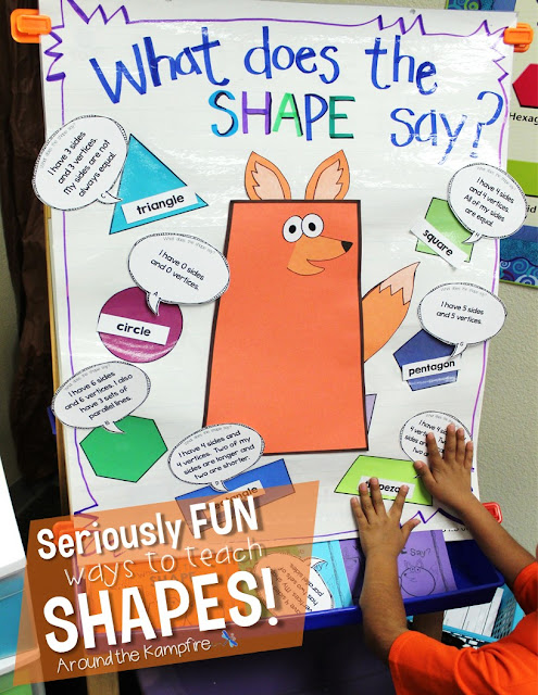 Seriously FUN Ways to Teach Shapes! What Does the SHAPE Say? anchor chart/game board for teaching 2D & 3D shapes