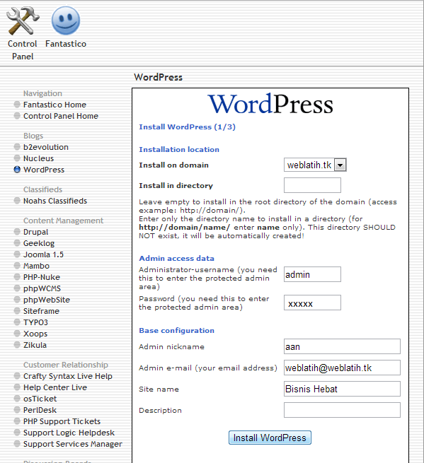 Install Wordpress On Hosting