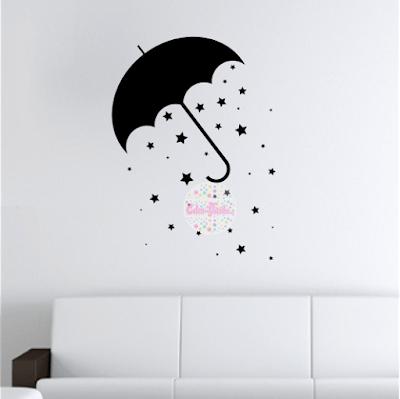 vinilo decorativo pared habitacion, infantil, dormitorio, paraguas, lluvia de estrellas