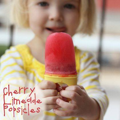 Cherry Limeade Popsicles