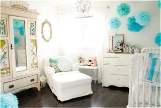 Dormitorio bebé turquesa blanco