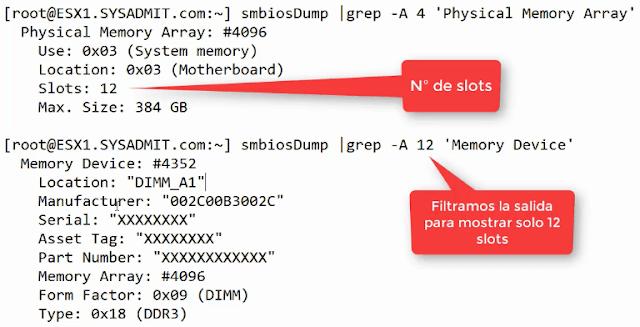 VMWare ESXi: Ver módulos de RAM