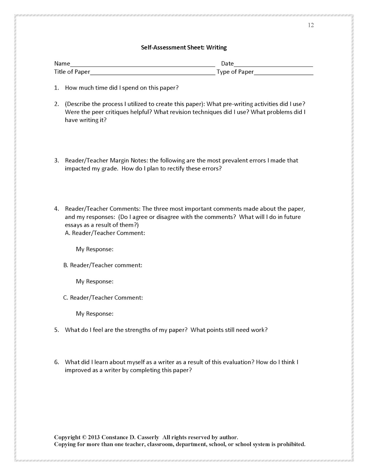 Teach It Write Write Right Incredible Critique Forms And Rubrics