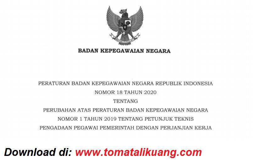 Download Peraturan Bkn Nomor 18 Tahun 2020 Tentang Perubahan Juknis Pppk P3k Pdf Tomatalikuang Com Berita Pendidikan Terbaru