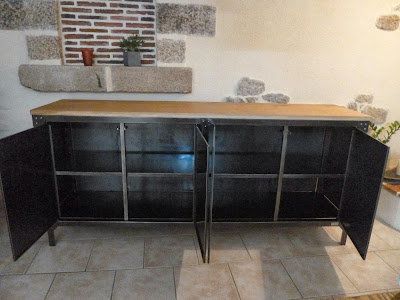 c factory creation buffet metal et bois. Black Bedroom Furniture Sets. Home Design Ideas