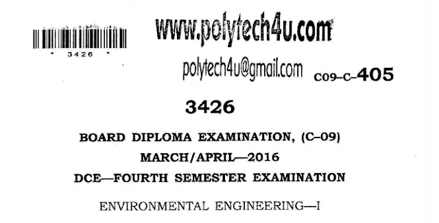 SBTET AP ENVIRONMENTAL ENGINEERING-1 PREVIOUS QUESTION PAPER