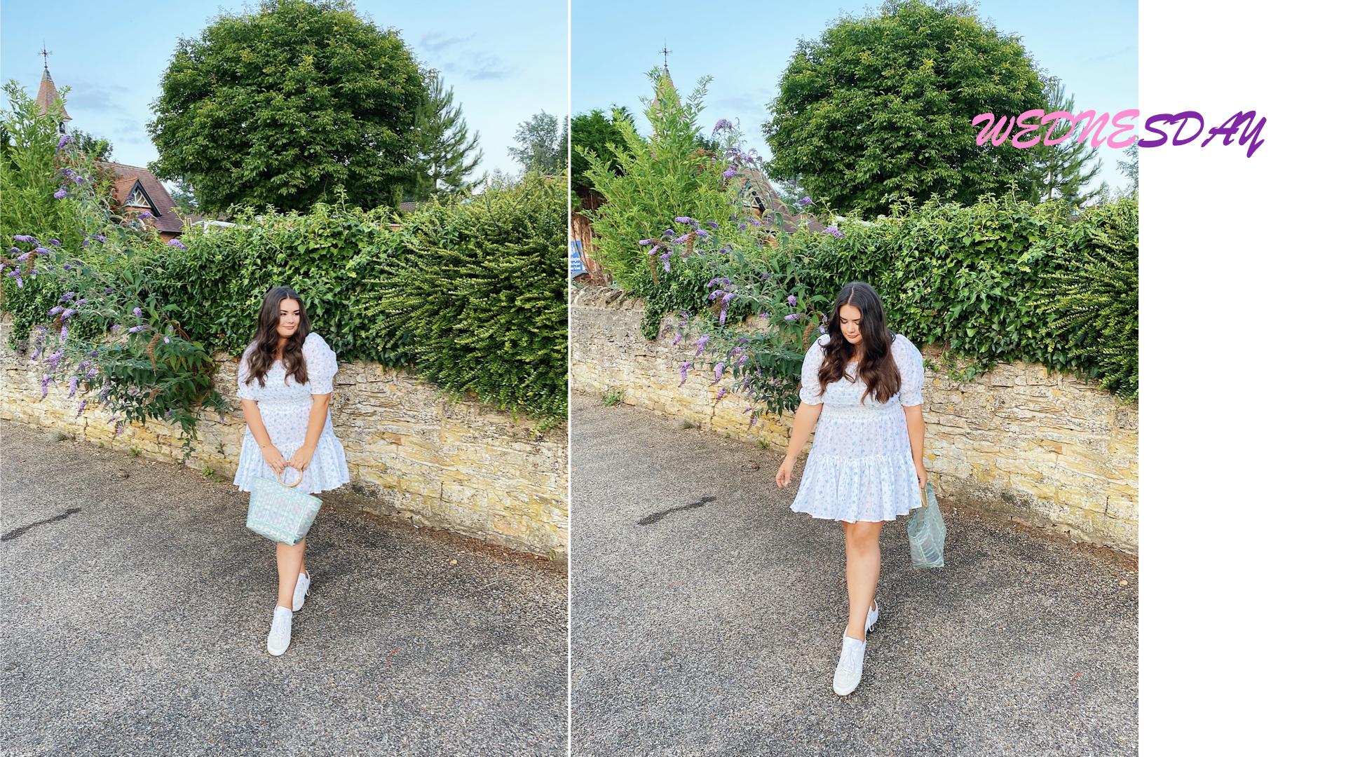 ASOS Design Shirred White Floral Dress