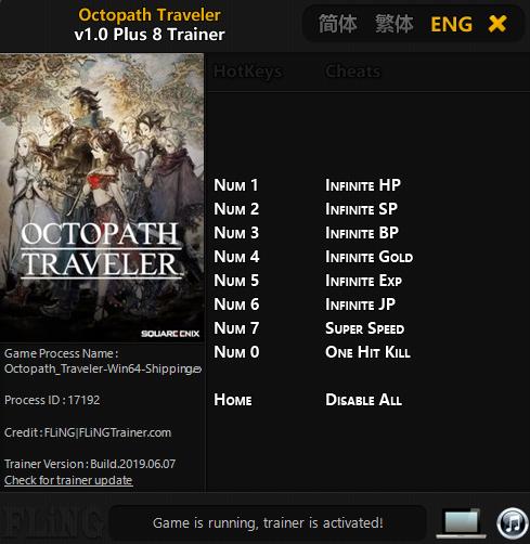 Octopath Traveler (PC) Oyunu Sınırsız Altın,Exp +8 Trainer Hilesi