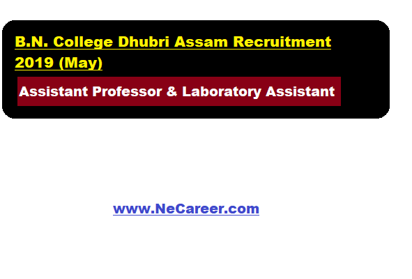 B.N. College Dhubri Assam Recruitment 2019 (May)