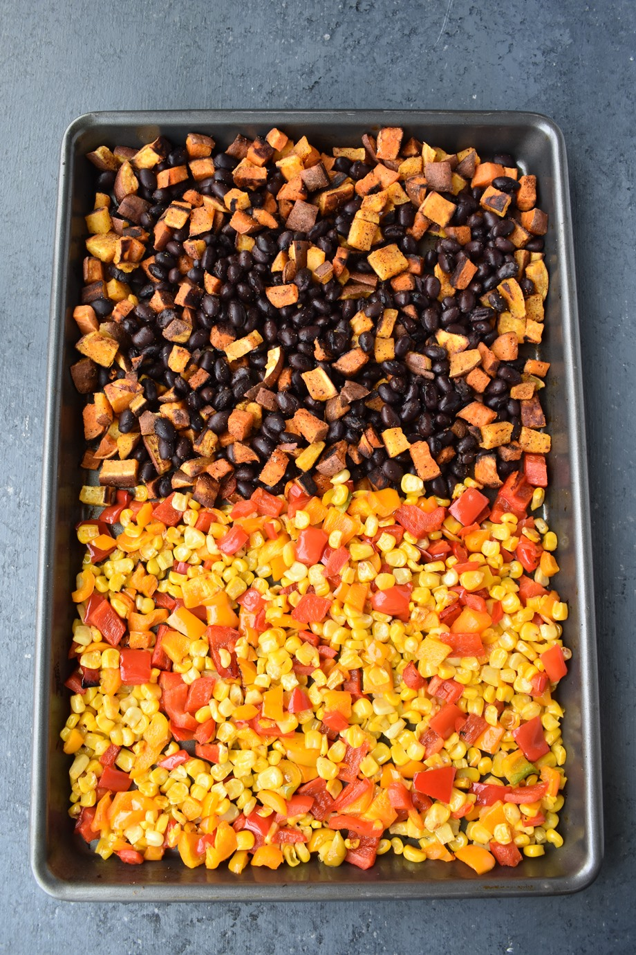 Roasted corn, peppers, black beans and sweet potatoes