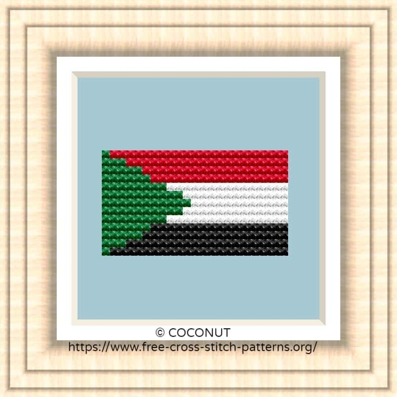 NATIONAL FLAG OF SUDAN CROSS STITCH CHART