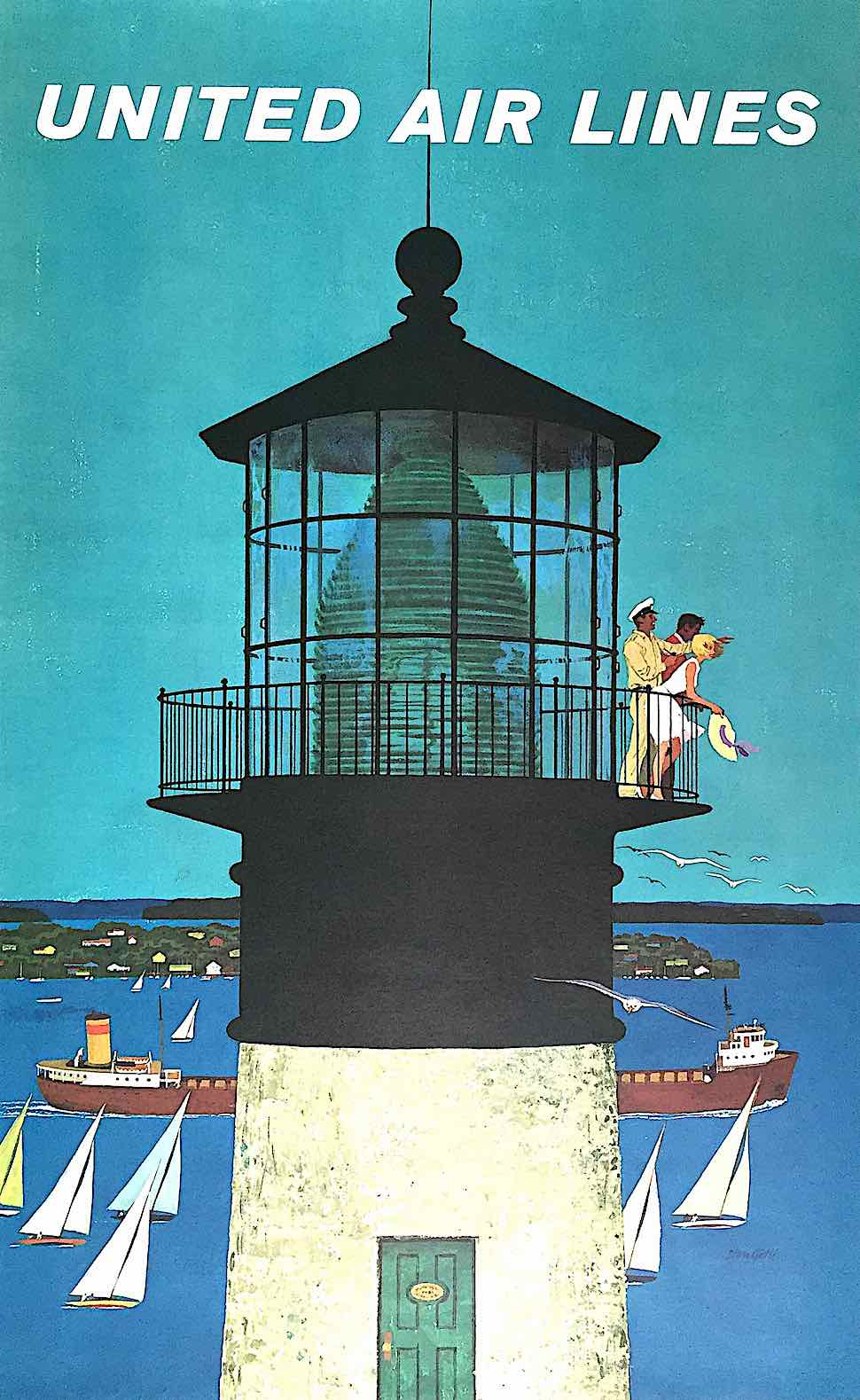 a Stan Galli illustration of people looking from a lighthouse
