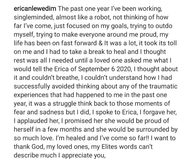 I have healed and forgiven myself- Erica celebrates her 1 year anniversary of the day she was disqualified from Big Brother House