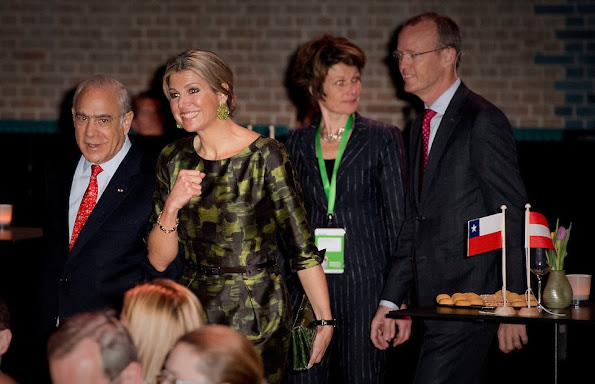 Dutch Queen Maxima attend the opening of the OECD Global Symposium. Queen Maxima wore Natan Dress, Bodes and Bode Earrings
