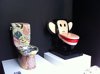 pics of psychedelic toilets using monkeys and 60s art