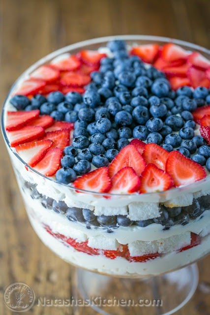 Memorial Day or summer desert recipe; #cookingfromscratch https://natashaskitchen.com/no-bake-strawberry-blueberry-trifle/