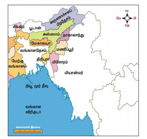 10th Social Science East States of India Map
