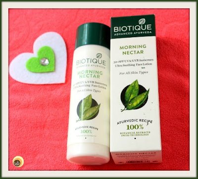 Biotique Morning Nectar Ultra Soothing Face Lotion With SPF 30 + For all skin types review on NBAM