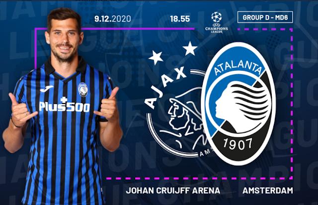Ajax vs Atalanta Champions League 20/21 Group Match