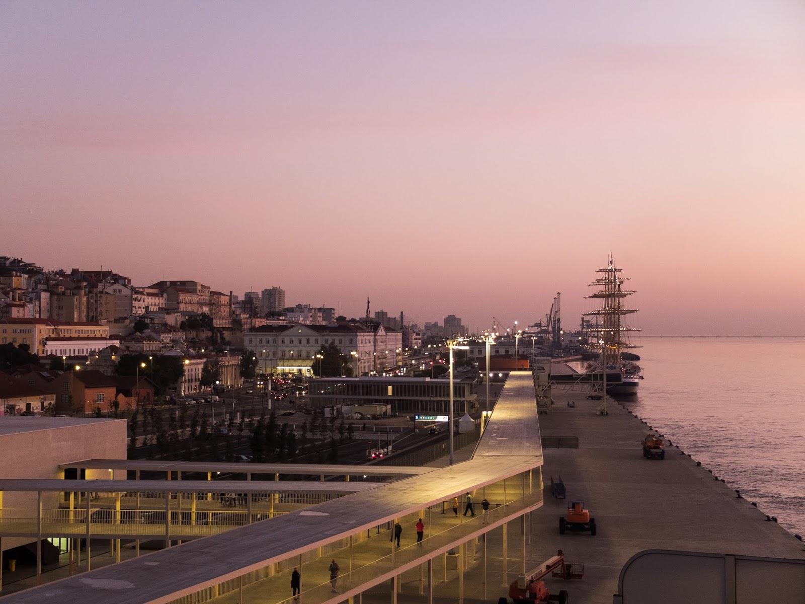 The port of Lisbon captured at sunrise in October 2018.
