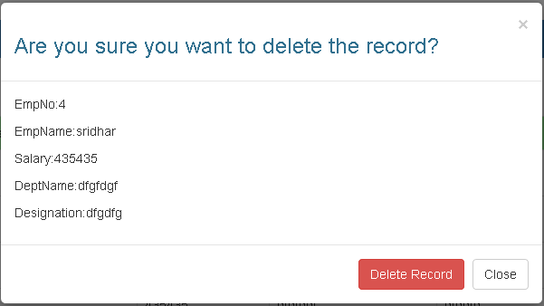 delete alert to remove record