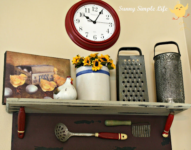 chickens, vintage kitchen, graters, red clock