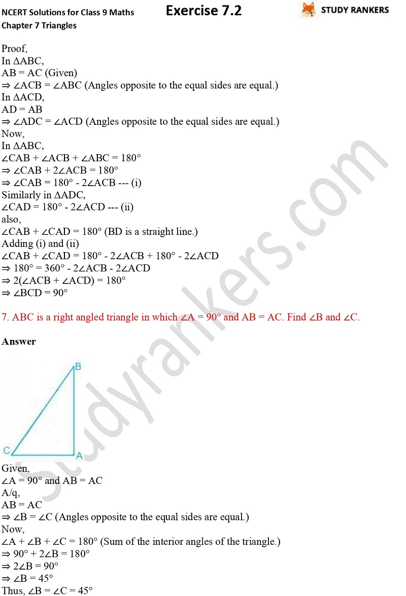 NCERT Solutions for Class 9 Maths Chapter 7 Triangles 7.2 Part 6