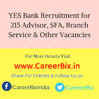 YES Bank Recruitment for 215 Advisor, SFA, Branch Service, Business Relationship, Financial Partner, CRP Vacancies