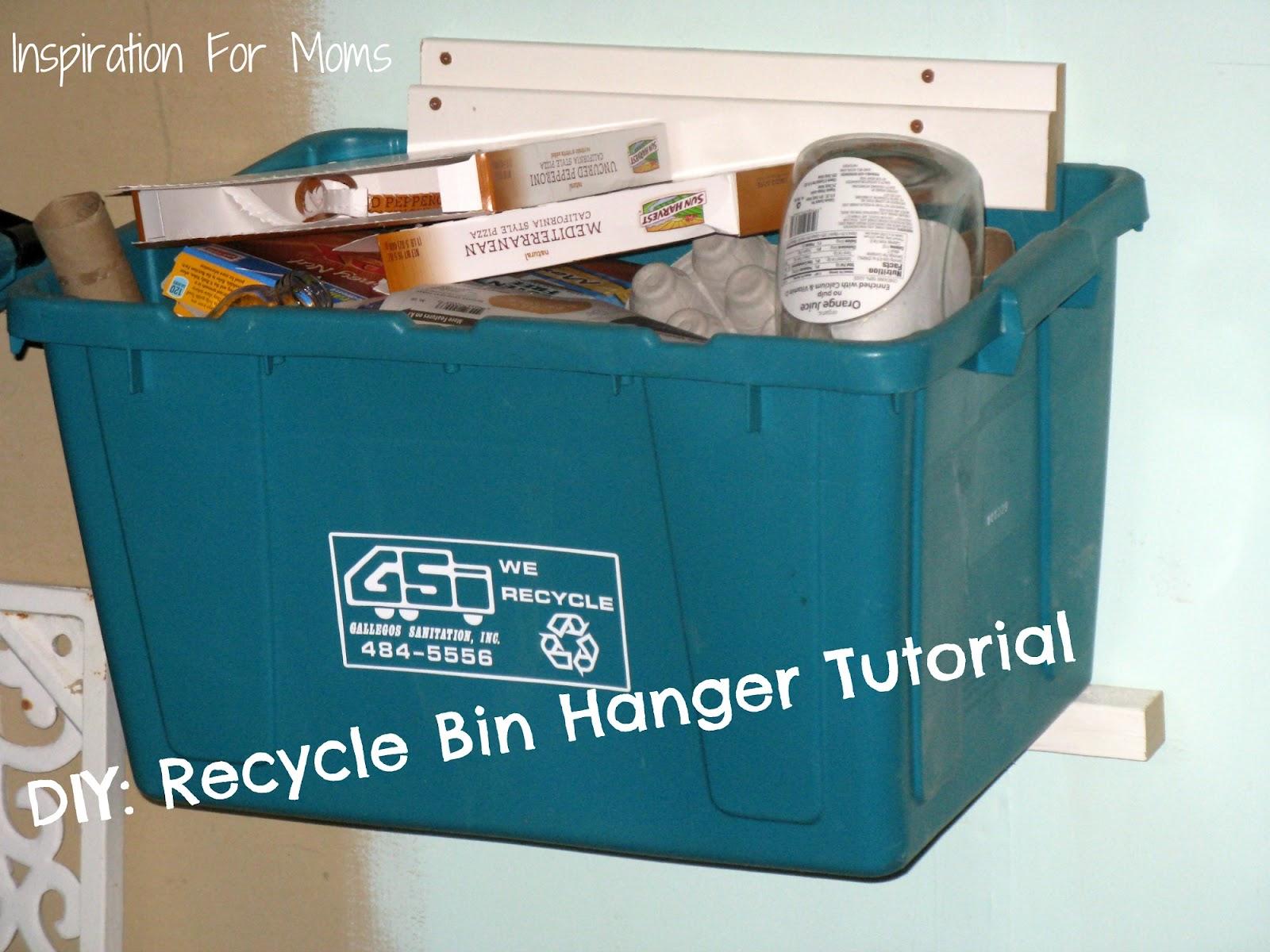 recycle bin ideas garage - DIY Recycle Bin Hanger Tutorial Inspiration For Moms