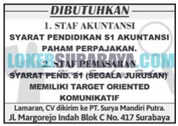 Lowongan Kerja Surabaya Terbaru di PT. Surya Mandiri Putra Juni 2019