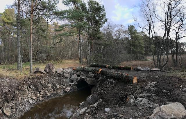 Kaivettu oja ja ja siltarumpu, jonka päältä kulkee polku. Ympärillä mäntyjä ja lehdettömiä puita.