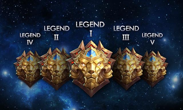 Tier Legend akan dibagi menjadi 5 Divisi: Legend V - Legend 1