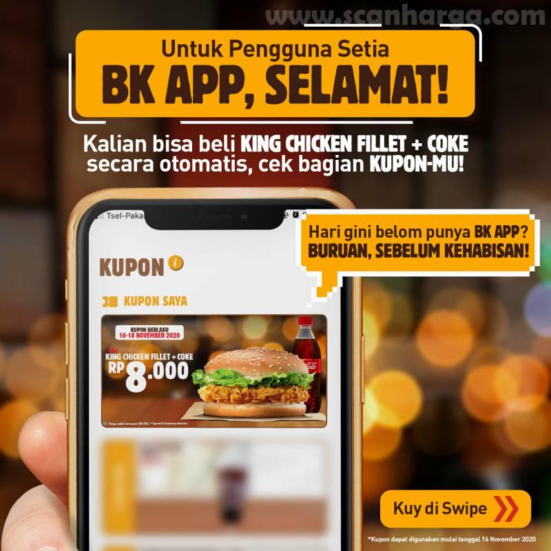 Promo Burger King cuma Rp 8000: harga Spesial King Chicken Fillet + Coca cola