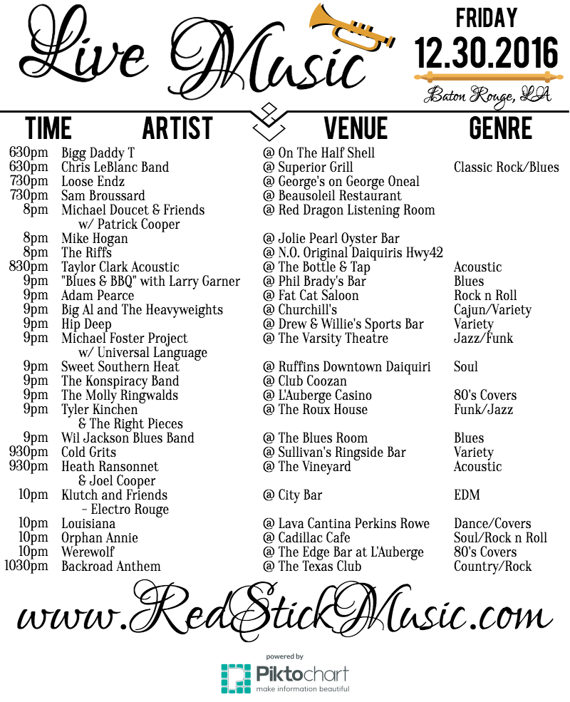 The Live Music Calendar from RedStickMusic.com: December 2016