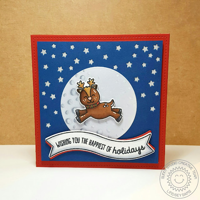 Sunny Studio Stamps: Gleeful Reindeer Holiday Christmas Card by Lindsey Sams (with banner from Little Angels)