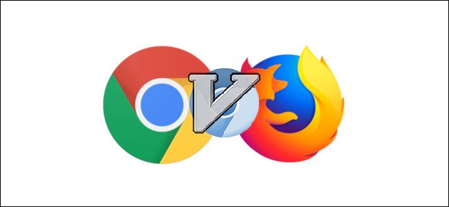 """حرف """"V"""" فوق شعارات Chromium و Chrome و Firefox الزرقاء."""