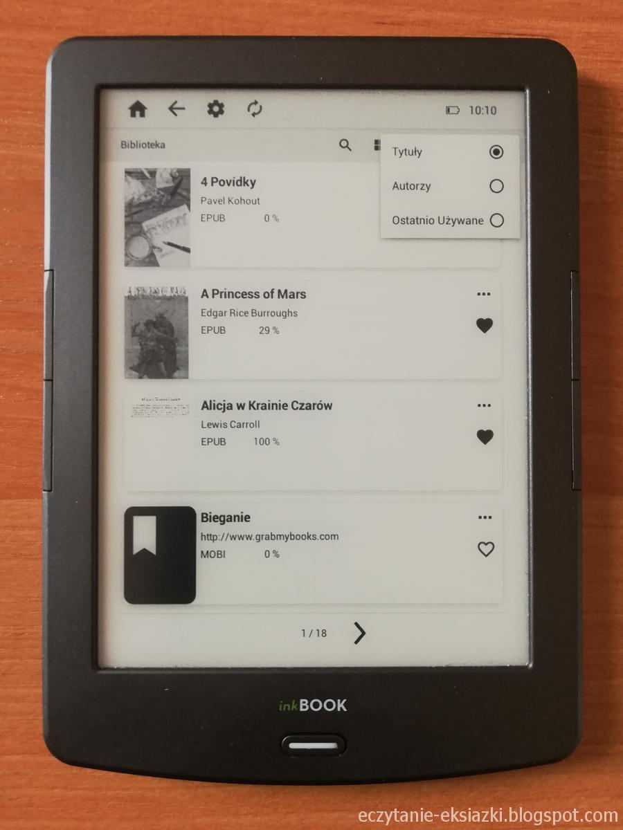 InkBOOK  Classic 2 - biblioteka umożliwia sortowanie według tytułów, autorów, daty użycia
