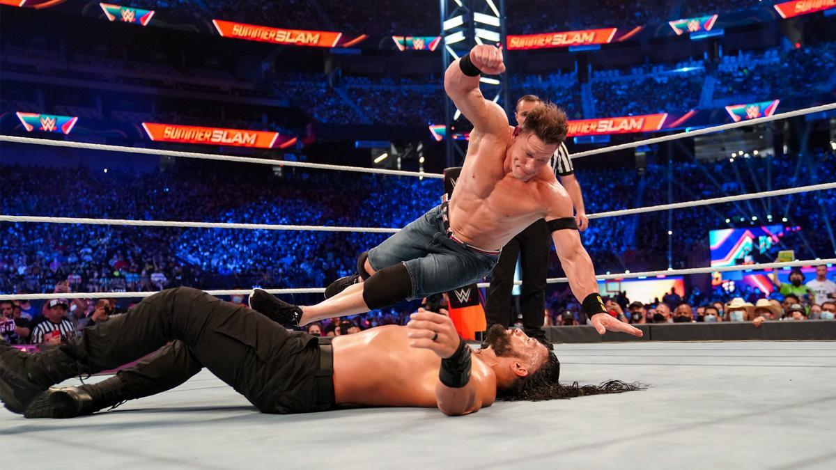 John Cena and Roman Reigns at WWE SummerSlam