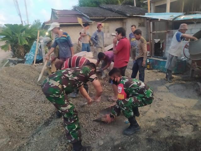 Bersama Masyarakat Desa Raamata, Personil Koramil 1312-05/Essang Melaksanakan Karya Bhakti