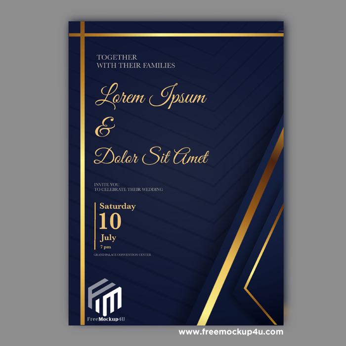 Luxury Golden Wedding Invitation Card Template
