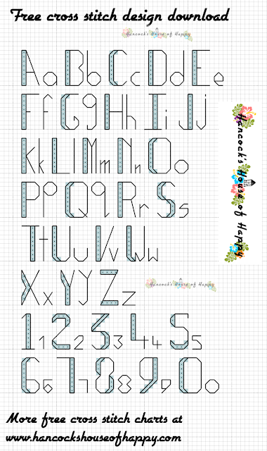 Free Cross Stitch Font. Art Deco Cross Stitch Alphabet Pattern.