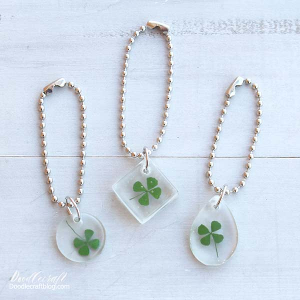 Four leaf clovers set in clear Easy Cast resin and made into easy key chains.