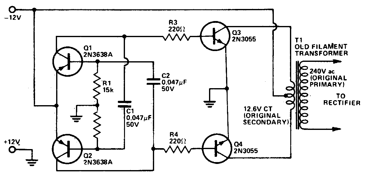 dc to ac inverter circuit diagram without transformer