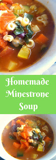 Homemade Minestrone Soup: Hearty vegetables and beans that are simmered in a chicken tomato broth and spiced just right with wonderful Italian herbs.  Slice of Southern