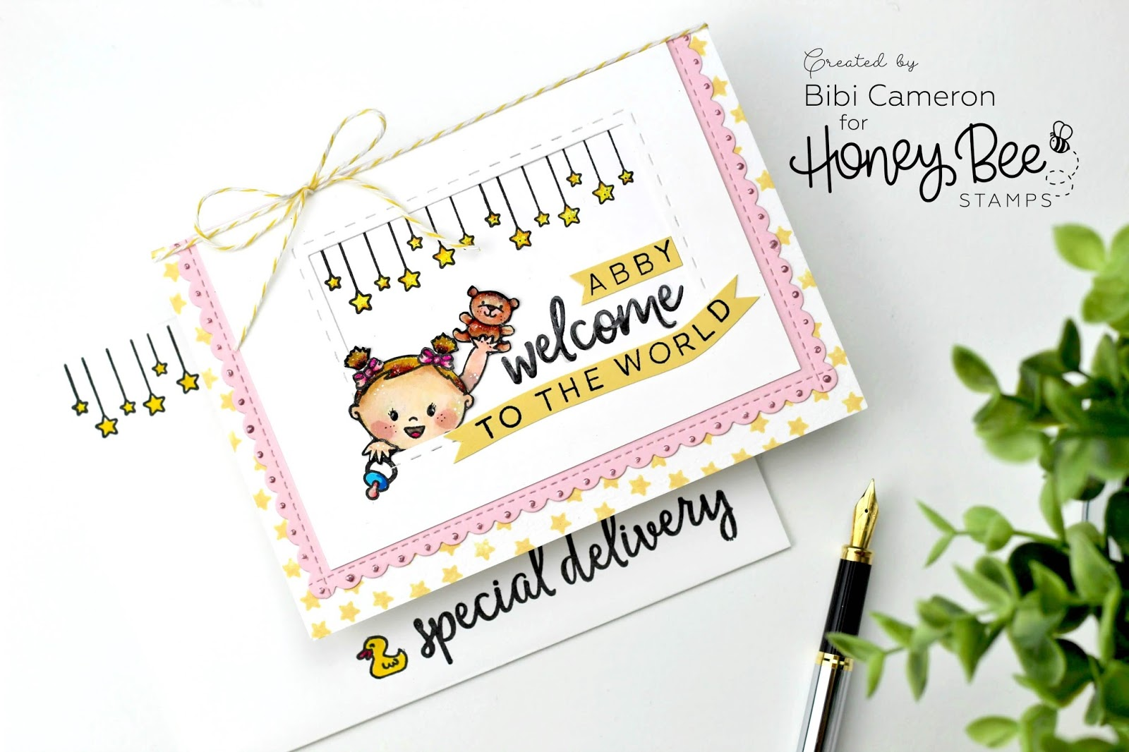 Cas Baby Card Idea With Honey Bee Stamps Bibi Cameron