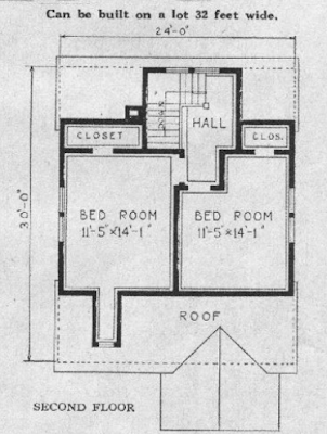 b&w image Sears Lorain second-floor floorplan in the 1929 Sears Modern Homes catalog