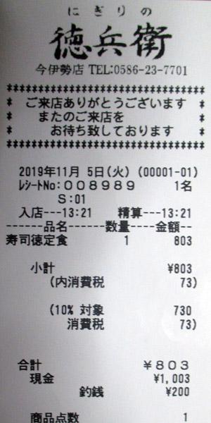 にぎりの徳兵衛 今伊勢店 2019/11/5 飲食のレシート