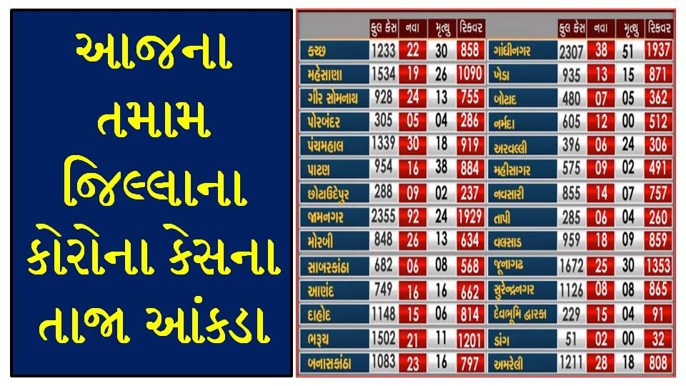 Gujarat Corona Cases Today [28/08/2020] District Wise Updates - Official Press Note PDF