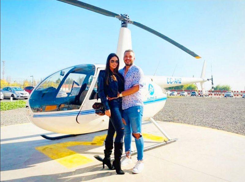 Sebastián Roco celebró sus ocho meses de pololeo con romántico viaje en helicóptero por Santiago
