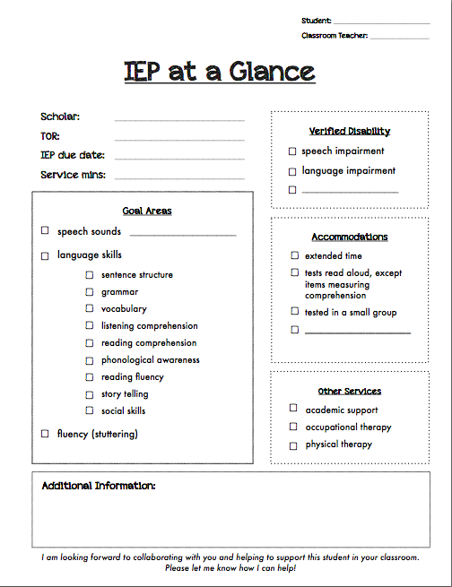 Mrs ludwig 39 s speech room happy new year 2013 2014 for Iep at a glance template